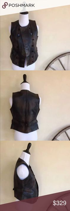 RALPH LAUREN Distressed Leather Moto Vest NWOT RALPH LAUREN Distressed Leather Lined Double Breasted Military Style Moto Vest Brown. Woman's Sz 4. NWOT!!!  Measurements: