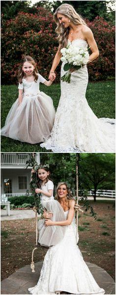 Flower girl dress, bridal style, white tulle, blush underlay, lace mermaid wedding gown // Nyk + Cali