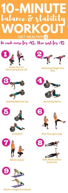 Check out this 10-minute balance and stability workout! #balance #stability #workouts #fitness