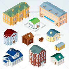 Vector Isometric House  #GraphicRiver         Set of Isolated Isometric Buildings. Illustration of Various Urban and Rural Houses and Dwellings, Detailed Vector Clip-Art with Easy Editable Colors.   - vector illustration, only simply linear and radial gradients used - vector objects separated & grouped - no blends, gradient mesh used - vector available CMYK colors and ready for print -