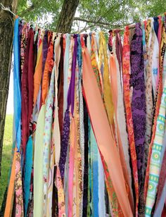 Garland for weddings, parties, backdrops or just to use on a patio of in a room. This garland is made from scrap fabrics and formed into a custom