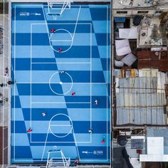 The designer covered the surface in a stretched and slanted chequerboard pattern in two bright shades of blue. Football And Basketball, Basketball Court, City Of Birmingham, Checkerboard Pattern, Mexican Designs, Geometric Designs, Mexico City, Japanese Art, Shades Of Blue