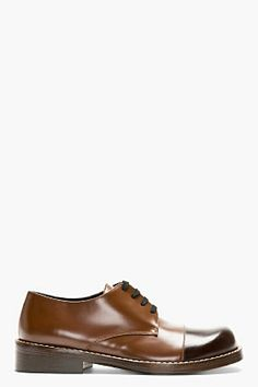 Marni Brown Leather Capped Derbys for men | SSENSE