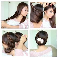 Fold over lace braid Updo bebexo