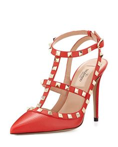 S0C64 Valentino Rockstud Leather 100mm Pump, Deep Coral