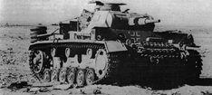 A abandoned Afrika Korps Panzer 3 left in the desert