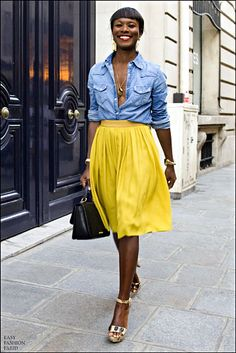 Shala Monroque, shot in Paris by Easy Fashion Paris via the Cut, yellow+chambray+sternum+gold&black(jewelery, bag, shoes, eye make-up!)