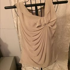 Lovely Tan Blouse Beautiful sheer, fully lined blouse with cute detail at neck. Excellent condition. True to size. Tops Blouses