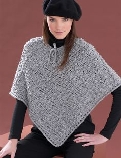 Perfect Patterned Poncho - Free Crochet Pattern - (yarnspirations)
