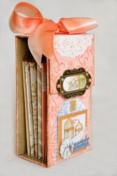"""BoBunny: Let's take a walk down """"The Avenues"""" / match book style mini made from paper towel rolls"""