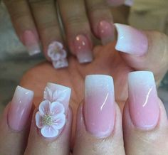 Absolutely LOVE this fade using Tammy Taylor Dark Pink Powder, French White Prizma and White Powder for the beautiful flower! Nails done by French Acrylic Nails, Cute Acrylic Nails, Cute Nail Art, 3d Nails, Cute Nails, Pretty Nails, 3d Nail Art, Crazy Nail Designs, Beautiful Nail Designs