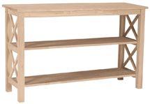 Model #     8BUF-OT-70S Description: Hampton X Sided                  Sofa Table Wood:        Parawood Size:          48w 30h 16d
