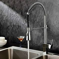Single Handle Solid Brass Spring Pull Down Kitchen Tap - Chrome Finish
