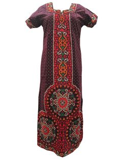 New Summer Fashion Maroon Red Long Casual Cotton Nighty