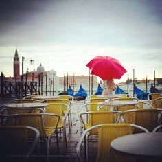Red umbrella in Venice