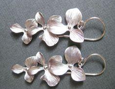 Silver flower earrings, floral earrings, Orchid cascade earrings, Bridesmaid gift, Silver wedding jewelry, bridal earrings Christmas gift