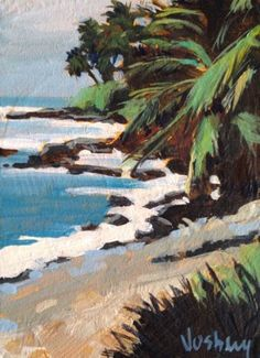 New Vosberg Acrylic Painting ACEO Tropical Palm Trees Ocean Maui Island Hawaii