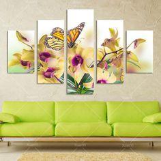 5 панель большой современный цветок бабочки картина маслом холстины Cuadros стены художественной картине для гостиной напечатаны без рамы PF922купить в магазине XuanYi Home Arts co., LtdнаAliExpress