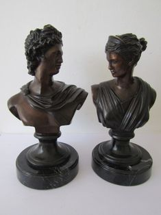 Buy Pair of exquisite vintage large solid Bronze Busts of Apollo and Diana on solid Marble Bases, for