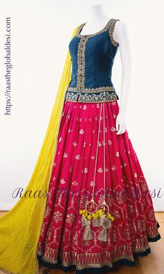 party wear lehenga Silk Chania with designer brocade blouse and contrast dupatta Indian Fashion Dresses, Indian Gowns Dresses, Indian Bridal Outfits, Indian Designer Outfits, Fashion Clothes, Half Saree Lehenga, Lehenga Choli Online, Indian Lehenga, Rajasthani Lehenga