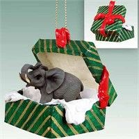 Elephant Gift Box Christmas Ornament: Deck your halls and trim your tree with this sweet and colorful… #PetProducts #PetGifts #AnimalJewelry