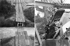 Two shots of the collapsed Silver Bridge in Point Pleasant, WV. While the cause was blamed on a failed eye-bar joint and weld, many believe the infamous Mothman had something to do with the collapse.