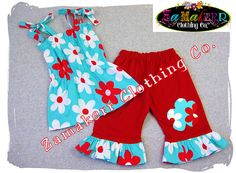 Custom Boutique Clothing Aqua Red Pillowcase Dress Top Ruffle Pant Bottom Outfit Set 3 6 9 12 18 24 month size 2t 2 3t 3 4t 4 5t 5 6 7 8. $40.99, via Etsy.