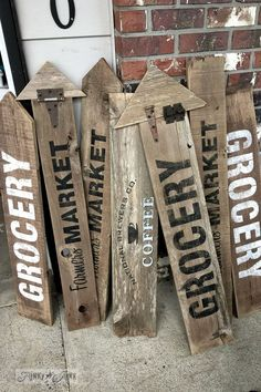 Wooden signs using Old Sign Stencils (for sale) by FunkyJunkInteriors.net