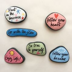 Gorgeous hand painted rocks Positive affirmations to start the new year! Size and shapes of pebbles will vary Approx size 9 cm x 8 cm 6 designs. Rock Painting Ideas Easy, Rock Painting Designs, Paint Designs, Pebble Painting, Pebble Art, Stone Painting, Painting Art, Stone Crafts, Rock Crafts