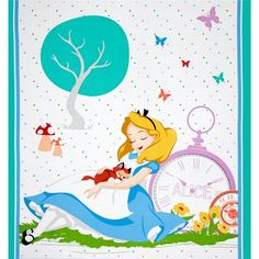 """Disney Alice Tea Time Panel Yellow from @fabricdotcom  Licensed by Disney to Springs Creative Products, this cotton print is perfect for quilting, apparel and home décor accents. Colors include black, orange, red, blue, gold, green, purple, teal, peach, grey, yellow and white. This panel measures 36"""" x 44"""". This is a licensed fabric and not for commercial use."""