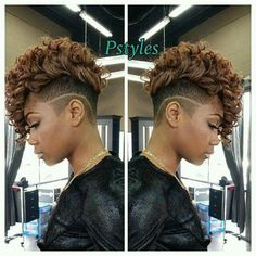 Temp fade Weave Hairstyles, Natural Mohawk Hairstyles, Curly Hair Mohawk, Black Mohawk Hairstyles, Black Women Hairstyles, Undercut Mohawk, Hairstyle Short, Hairstyles 2016, Hairstyles Pictures