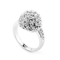 Magic Collection 18k White Gold Plated Swarovski Crystal Disco Ball Cocktail Cluster Ring R151 (18k White Gold Plated, 6.5)  http://electmejewellery.com/jewelry/rings/statement/magic-collection-18k-white-gold-plated-swarovski-crystal-disco-ball-cocktail-cluster-ring-r151-18k-white-gold-plated-65-com/