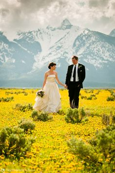 The newly wedded couple in the picture is lovely... but I really want to visit Antelope Flats, Wyoming in the background :]