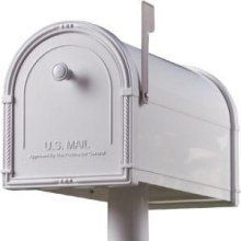 Architectural Mailboxes Bellevue White with White Bronze Flag by Architectural Mailboxes®. Save 15 Off!. $119.64. The Bellevue mailbox offers die cast aluminum accents, which are powder coated to match the mailbox body. The flag accent piece is finished in white bronze to provide a contrast against the mailbox body.
