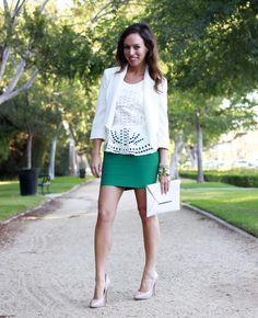 BCBG bandage skirt what to wear white blazer white peplum top white clutch
