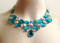 turquoise bib necklace turquoise and crystal AB by BienBijou