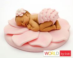 Flower Baby Cake Topper  Pink Fondant Baby  by WorldByGabi on Etsy