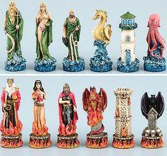 Greek Myth fantasy chess set