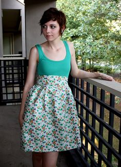 super cute dress made from a tank top and fabric for the skirt
