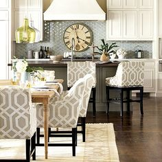 Love the bar stools Addie Pendant, Sheffield Clock, Marcello Seating from Ballard Designs