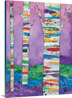 Shop for framed Multicolored Birch Tree I by Lisa Morales. Tree Collage, Collage Art, Collages, Landscape Art Quilts, Collage Landscape, Landscapes, Quilting Projects, Art Quilting, Quilting Ideas