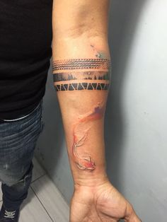 Arm Watercolor Tattoo Designs For Men Band Tattoos For Men, Forearm Band Tattoos, Forearm Tattoo Design, Watch Tattoos, Tattoos For Guys, Sky Tattoos, Hand Tattoos, Tatoos, Black Watercolor Tattoo