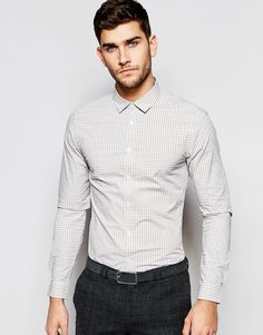 ASOS Skinny Shirt In Light Gray Gingham Check
