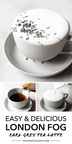 London Fog is a, Earl Grey tea latte with warm milk, vanilla extract, and sweetened with sugar. Make this London Fog drink at home with this easy recipe! Hot Tea Recipes, Green Tea Latte, Earl Grey Tea, Latte Recipe, Yummy Food, Tasty, Tea Sandwiches, High Tea, Recipe Using