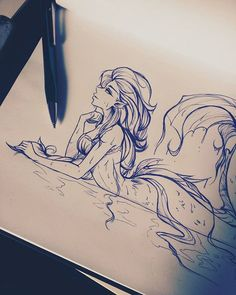 Mermaid sketch art in 2019 dessin inspiration, art dessin, dessin personnag Mermaid Artwork, Mermaid Drawings, Mermaid Tattoos, Sketch Art, Drawing Sketches, Cool Drawings, Mermaid Sketch, Art Du Croquis, Mermaids And Mermen