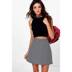 Boohoo Marin Monochrome Dogtooth A Line Mini Skirt ($14) ❤ liked on Polyvore featuring skirts, mini skirts, multi, pleated mini skirt, pleated skirt, short skirts, midi skirt and white pleated skirt