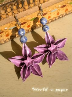 Origami earrings Carambola with sodalite stones, lilac relief paper earrings, semi precious stones, galaxy stones, carambola paper earrings by TheWorldinpaper on Etsy