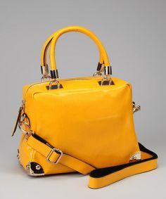 c1e79bcdbb87 Yellow Glossy Leather Satchel #zulilyfinds Leather Satchel, Glossier