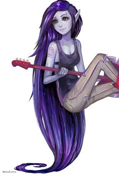 marceline adventure time purple hair. Haha she has a princess bubblegum tattoo