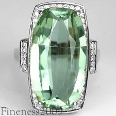 13.75CT.REAL GREEN AMETHYST & WHITE CUBIC ZIRCONIA STERLING 925 SILVER RING 7.25